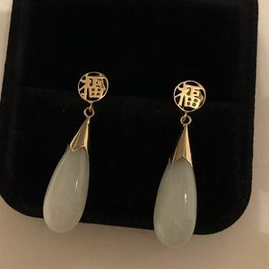 Vintage 14k gold and jade earrings